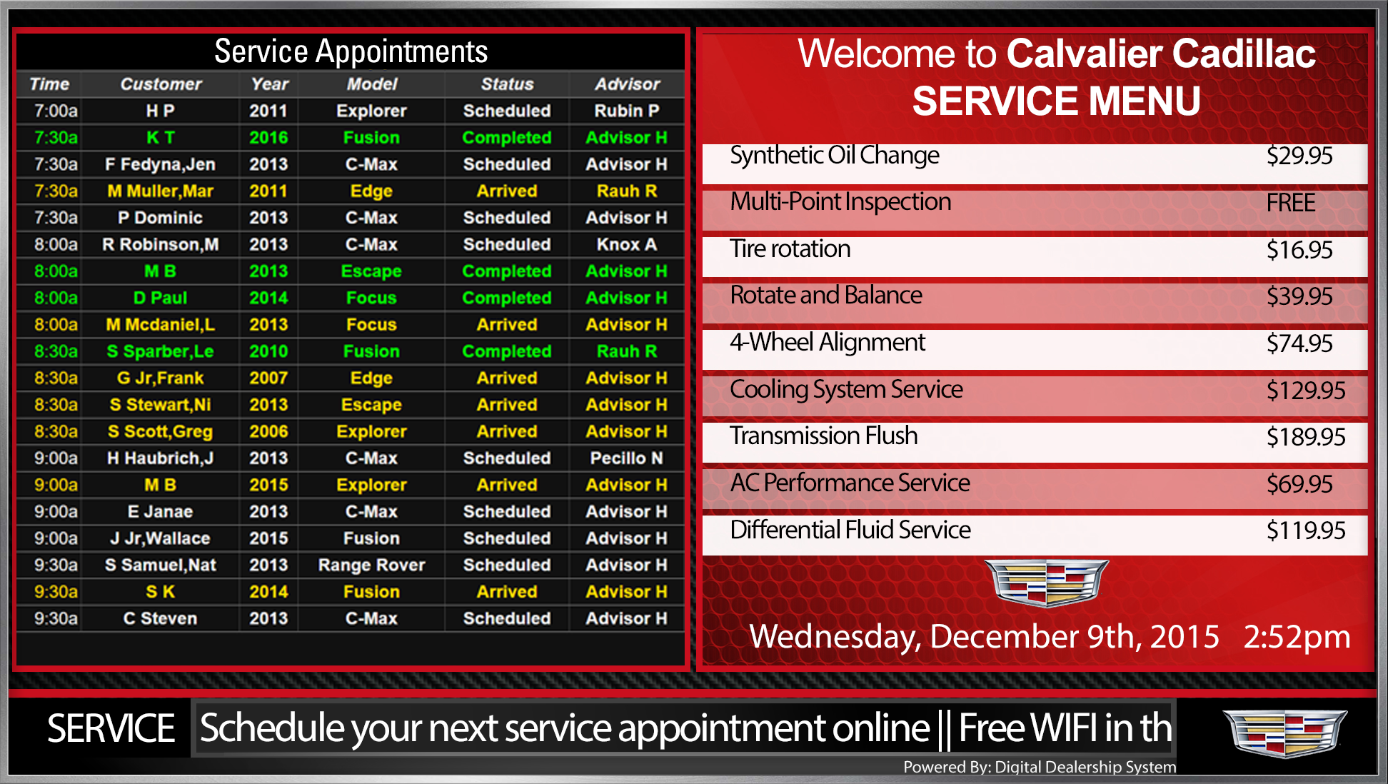 cadillac service appointment menu sign